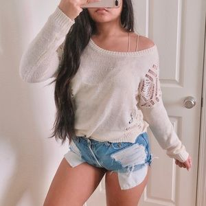 Adorable open knit pullover sweater